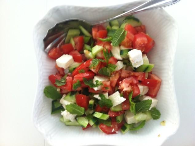 chopped cucumber, tomato and feta salad