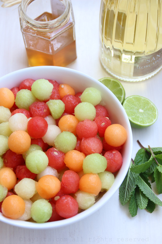 Melon-balls-honey-lime-mint-and-moscato-wine